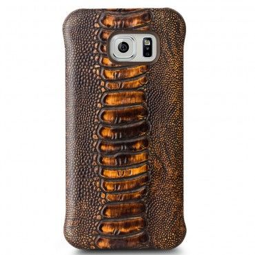 "Premium kryt Qialino ""Lava"" pro Samsung Galaxy S6 z pravé kůže - hnědý"