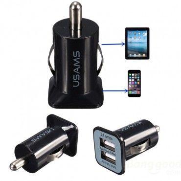 Univerzální autonabíječka Usams 3.1A pro mobilní zařízení – černá