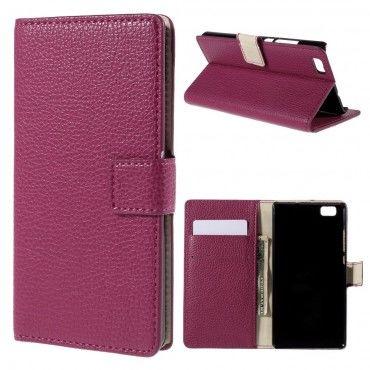 """Elegantní pouzdro """"Litchi"""" pro Huawei P8 Lite z umělé kůže - růžové"""