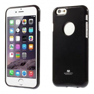 TPU gelový obal Goospery Jelly Case pro iPhone 6 / 6S s výřezem pro logo - černý