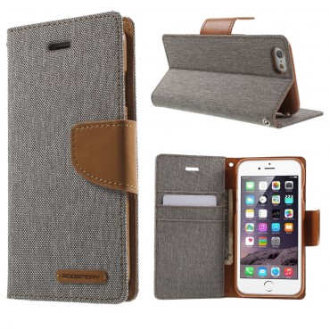 Pouzdro Goospery Canvas Diary pro iPhone 6 / 6S - šedé
