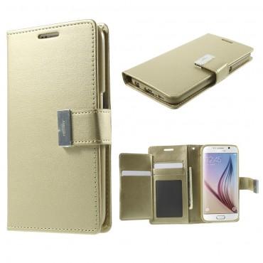 Elegantní kryt Goospery Rich Diary pro Samsung Galaxy S6 - zlaté barvy