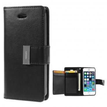 Elegantní pouzdro Goospery Rich Diary pro iPhone SE / 5 / 5S - černý
