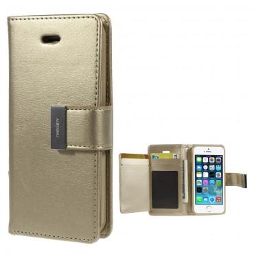 Elegantní pouzdro Goospery Rich Diary pro iPhone SE / 5 / 5S - zlatý
