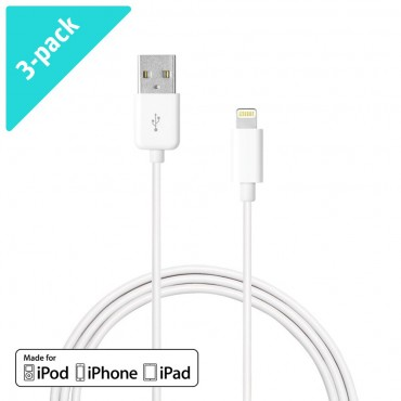 Premium Era: Balení 3 kusů MFI lightning kabelu pro iPhone 7 / 7 Plus / 6S / 6S Plus / 6 / 6 Plus / SE / 5 / 5S / iPad Pro / iPad Air / iPad Mini