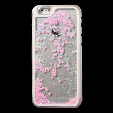 "Módní kryt ""Liquid Glitter Heart"" pro iPhone 6 / 6S - růžové"