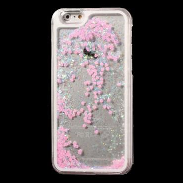 "Módní obal ""Liquid Glitter Heart"" pro iPhone 6 / 6S - růžový"