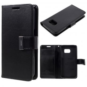 Elegantní kryt Goospery Rich Diary pro Samsung Galaxy S7 - černý