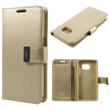 Elegantní pouzdro Goospery Rich Diary pro Samsung Galaxy S7 Edge - zlatý