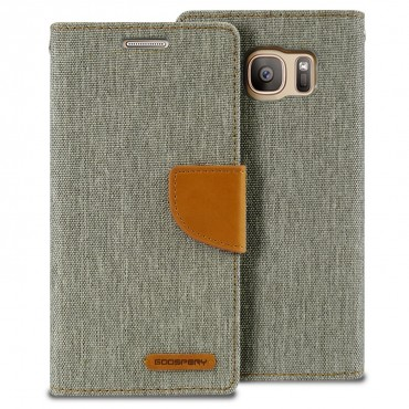 Kryt Goospery Canvas Diary pro Samsung Galaxy S7 Edge - šedý