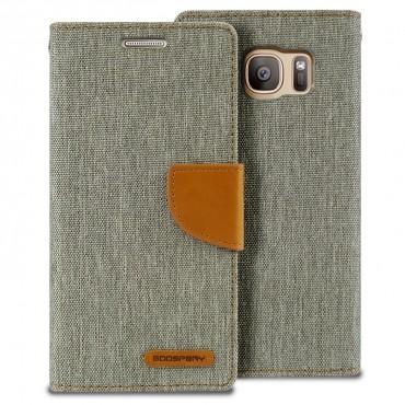 Pouzdro Goospery Canvas Diary pro Samsung Galaxy S7 Edge - šedé