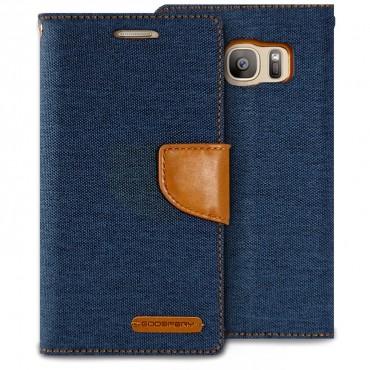 Kryt Goospery Canvas Diary pro Samsung Galaxy S7 - tmavě modrý