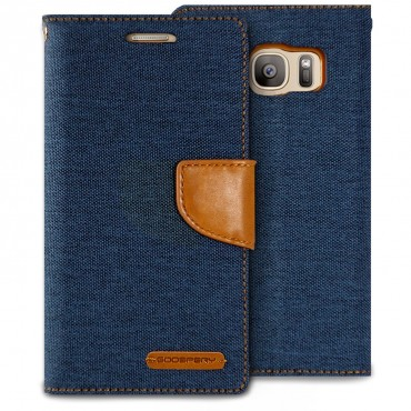 Pouzdro Goospery Canvas Diary pro Samsung Galaxy S7 - tmavě modré