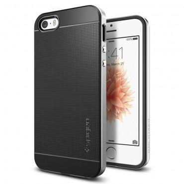"""Obal Spigen """"Neo Hybrid"""" pro iPhone SE / 5 / 5S - saténově stříbrný"""