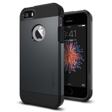 "Kryt Spigen ""Tough Armor"" pro iPhone SE / 5 / 5S - metal slate"