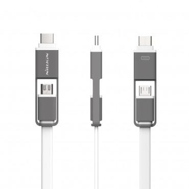 USB-C a Mikro USB flat kabel 2 v 1 - bílé