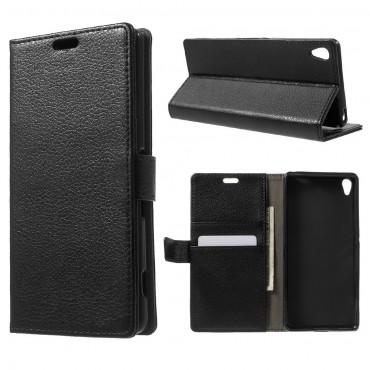 """Elegantní kryt """"Litchi"""" pro Sony Xperia XA - černý"""