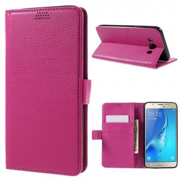 """Elegantní pouzdro """"Litchi"""" pro Samsung Galaxy J7 2016 - růžové"""