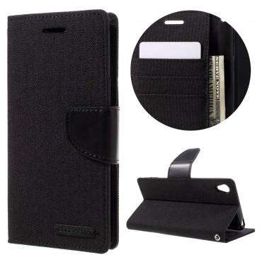 Pouzdro Goospery Canvas Diary pro Sony Xperia XA - černé