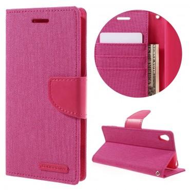 Pouzdro Goospery Canvas Diary pro Sony Xperia XA - růžové
