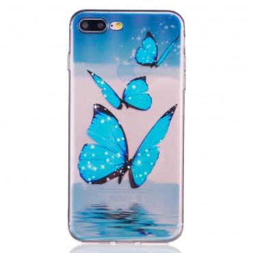 "Módní TPU gelový obal ""Blue Butterfly"" pro iPhone 8 Plus / iPhone 7 Plus"