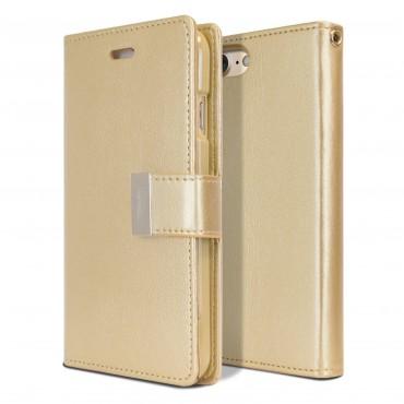 Elegantní kryt Goospery Rich Diary pro iPhone 8 / iPhone 7 - zlaté barvy