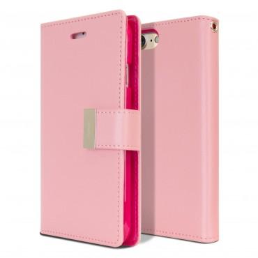 Elegantní kryt Goospery Rich Diary pro iPhone 8 / iPhone 7 - růžový