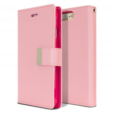 Elegantní pouzdro Goospery Rich Diary pro iPhone 8 Plus / iPhone 7 Plus - růžový