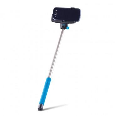 """Roztažitelná Bluetooth selfie tyč """"Quick Snap"""" pro mobilní zařízení - modrá"""