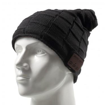 """Bluetooth čepice """"Grid"""" s vestavěnými reproduktory, ovládáním a mikrofonem - černá"""