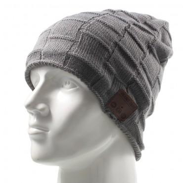 """Bluetooth čepice """"Grid"""" s vestavěnými reproduktory, ovládáním a mikrofonem - šedá"""