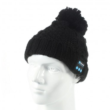 """Bluetooth čepice """"Cof"""" s vestavěnými reproduktory, ovládáním a mikrofonem - černá"""