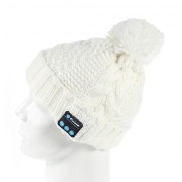 """Bluetooth čepice """"Cof"""" s vestavěnými reproduktory, ovládáním a mikrofonem - bílá"""