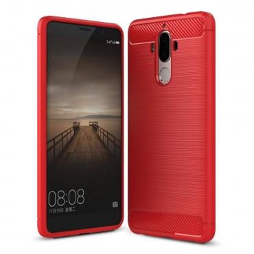 """Kryt TPU gel """"Brushed Carbon"""" pro Huawei Mate 9 - červené"""