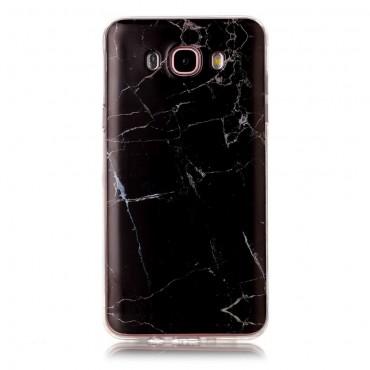 """Módní kryt """"Marble"""" pro Samsung Galaxy J7 2016 - černé"""