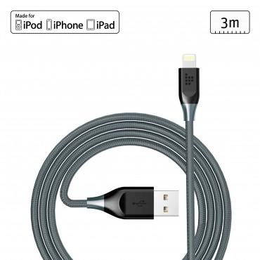 Kabel Lightning Tronsmart pro Apple zařízení s MFI certifikátem a přidaným kevlarem - 3 m - šedý