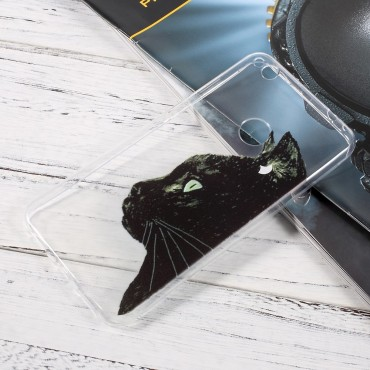 "Tenký kryt TPU gel ""Black Cat"" pro Huawei Honor 8 Lite / P8 Lite 2017 / Nova Lite"