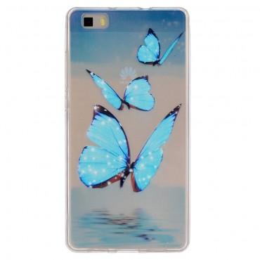 """Kryt TPU gel """"Blue Butterfly"""" pro Huawei P8 Lite"""