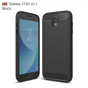 "TPU gelový obal ""Brushed Carbon"" pro Samsung Galaxy J7 2017 - černý"