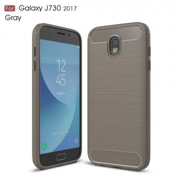 "TPU gelový obal ""Brushed Carbon"" pro Samsung Galaxy J7 2017 - šedý"