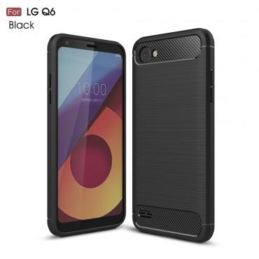 """Kryt TPU gel """"Brushed Carbon"""" pro LG Q6 - černý"""