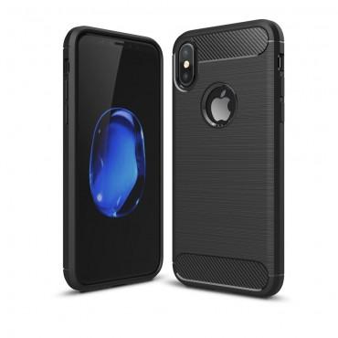 """TPU gelový obal """"Brushed Carbon"""" pro iPhone X / XS - černý"""