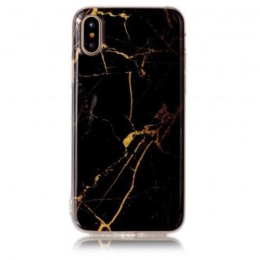 """Módní obal """"Marble"""" pro iPhone X / XS - černý"""