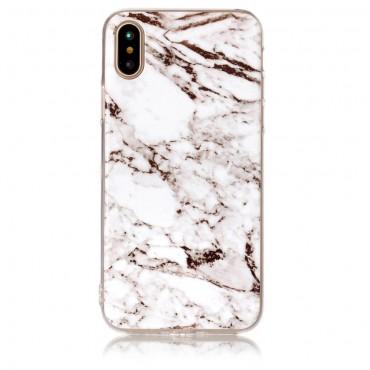 """Módní kryt """"Marble"""" pro iPhone X / XS - bílý"""