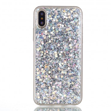 """Módní kryt """"Liquid Glitter"""" pro iPhone X / XS - stříbrné barvy"""