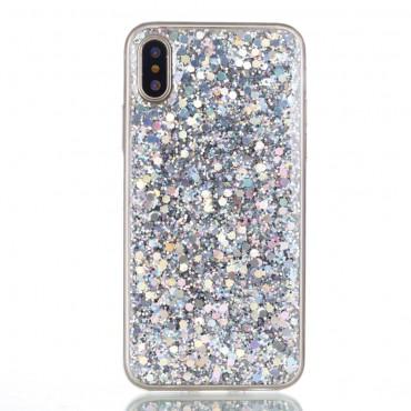 "Módní obal ""Liquid Glitter"" pro iPhone X / XS - stříbrný"