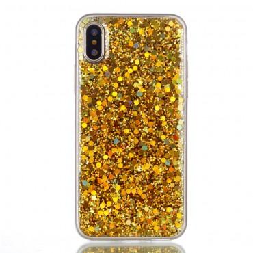 """Módní kryt """"Liquid Glitter"""" pro iPhone X / XS - zlatý"""