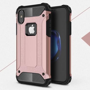 """Robustní obal """"Rock"""" pro iPhone X / XS - růžový"""