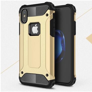 """Robustní obal """"Rock"""" pro iPhone X / XS - zlaté barvy"""
