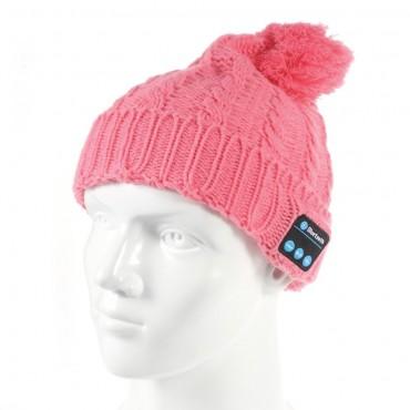 """Bluetooth čepice """"Cof"""" s vestavěnými reproduktory, ovládáním a mikrofonem - růžová"""